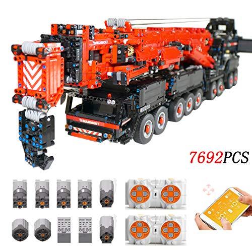 HYZM Technic Grua, 7692 Piezas Set de Costruzioni Grúa de Control Remoto con 8 Motor, Compatible con Lego Technic
