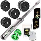 C.P. Sports - Juego de 2 discos de pesas de goma maciza + barra de acero Olympia de 50 mm + accesorios | discos de pesas, placas de parachoques, pesas para levantamiento, competición, gimnasio