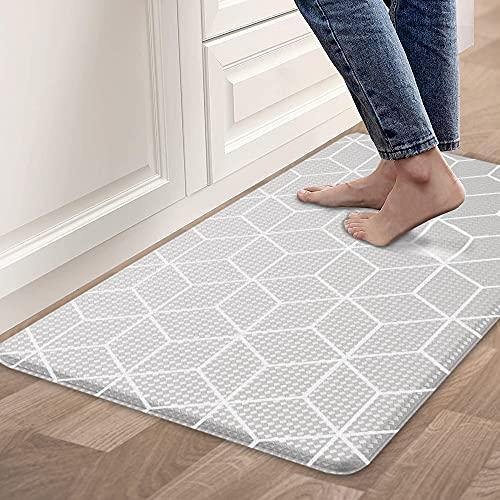 "Kitchen Rugs Mat Anti Fatigue Comfort Cushion Floor Mats, Non Slip Waterproof Kitchen Mats, Suitable for Kitchen, Laundry, Bathroom, Living Room, 30.3""x 17.3"", Grey"