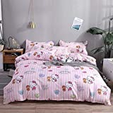 Hello Kitty Girl Duvet Cover Set Luxury Queen Size Bedding Set for Kids Woman, Hypoallergenic 4 Pieces Pink Bedding Collections with 1 Duvet Cover 1 Bed Sheet and 2 Pillowcases (Hello Kitty,Queen)