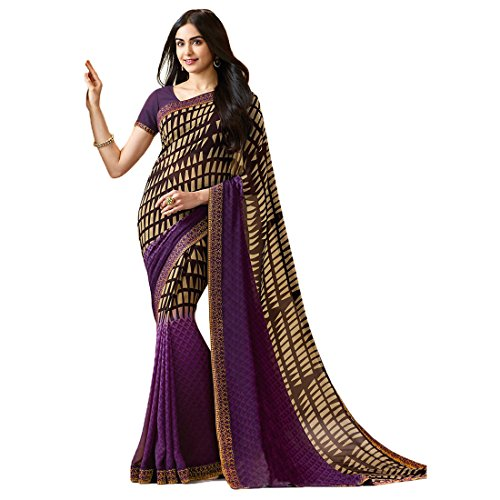 Mohit Creations Women's Partywear Printed Saree with Unstitched Blouse Purple