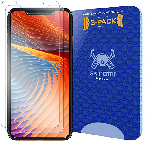 Skinomi Tech Glass Screen Protector Compatible with Apple iPhone Xs (5.8')(3-Pack) 9H Hardness Clear HD Ballistic Tempered Glass Shield
