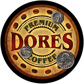 ZuWEE Brand Coffee Themed Coaster Set Featuring the Dores Family Name