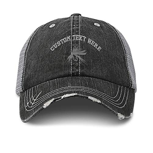 Custom Distressed Trucker Hat Silver Fly Fishing Embroidery Cotton for Men & Women Strap Closure Black Gray Personalized Text Here
