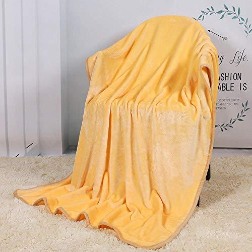 XUMINGLSJ Mantas para Sofás de Franela- Manta para Cama Reversible de 100% Microfibre Extra Suave -Amarillo_70 * 100 CM