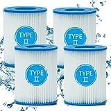 Hoimlm Cartuchos de filtro para piscina tipo II, cartuchos de filtro para piscina Bestway tamaño 2 cartuchos de filtro tamaño, compatible con bomba de agua Bestway: 58383/58386/58094 (4 unidades)