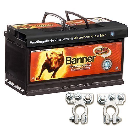 Banner Vliesbatterie AGM Running Bull 92AH 12V Batterie inkl. Polklemmen Auto Boot Wohnmobil