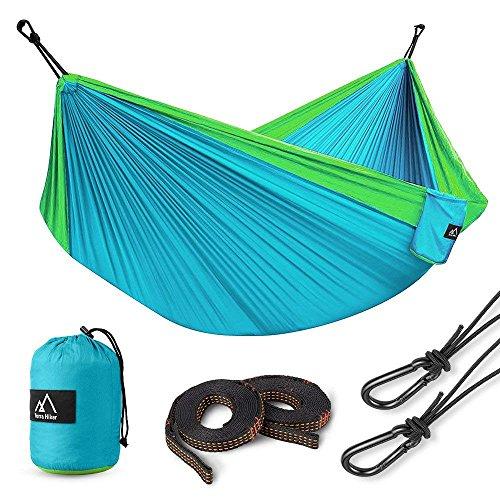 Terra Hiker Amaca da Campeggio Doppia con Cinghie e Moschettoni in Acciaio Leggera Portatile per Viaggio Spiaggia Giardino (Blu)