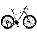 Lisi Vélo de Montagne Adulte 26 Pouces 30 Vitesses Une Roue Tout-Terrain à Vitesse Variable absorbeur de Choc Hommes et Femmes vélo vélo,White