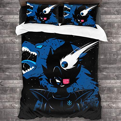 KUKHKU Vegeta Ozaru Saiyan Dragon Ball Z 3 Pieces Bedding Set Duvet Cover 86x70 inch, Decorative 3 Piece Bedding Set With 2 Pillow Shams