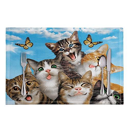 Woisttop Lot de 4 sets de table pour enfants avec motif chats mignons et chatons transparents, lavables et résistants à la chaleur, antidérapants et transparents