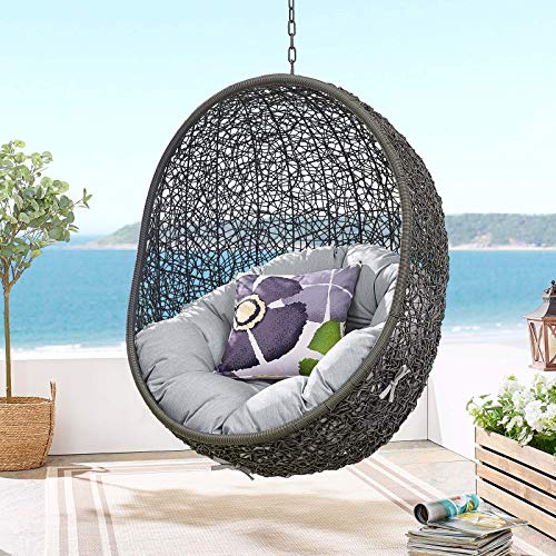 Modway EEI-3634-GRY-GRY Hide Sunbrella Fabric Swing Outdoor Patio Lounge Chair Without Stand, Gray Gray