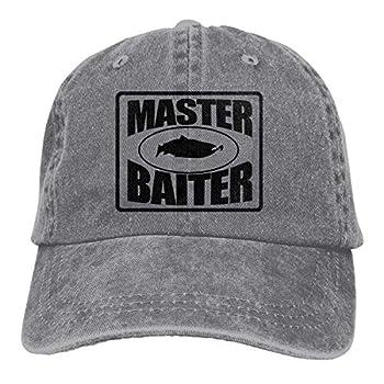FUN DOGE FEAIYEA Denim Cap Fishing Master Baiter Baseball Dad Cap Adjustable Classic Sports for Men Women Hat Gray One Size