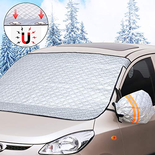 Auto-aAtend Frontscheibenabdeckung Auto Scheibenabdeckung Winter Schutz, Magnetische Schneedecke mit Zwei Spiegelabdeckungen, Windschutzscheibe gegen Schnee, EIS, Frost, Staub, Sonne (191cm*120cm)