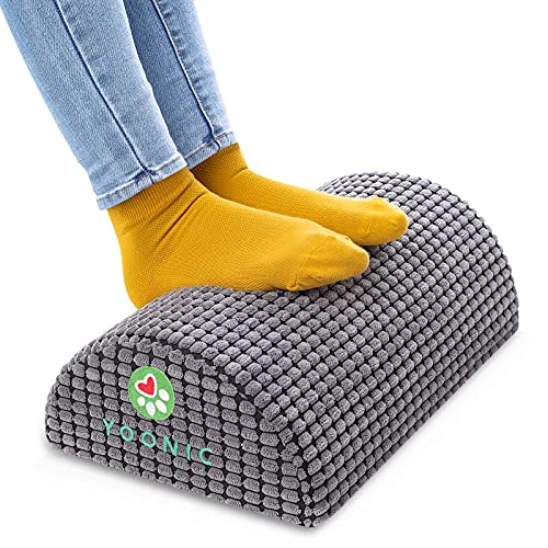 YOONIC Ergonomic Design Office Foot Rest Under Desk, Provide Leg Support at Work, Corn Particles Massage Function for Feet,Relieves Knee Pain, Non-Slip Bottom, for Home,Office, Travel (Round Gery)