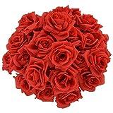 バラ 造花 50本 cnomg 直径8cm 母の日 プロポーズ 結婚式 誕生日 お祝い 演出にローズ 装飾 DIY材料 (レッド)