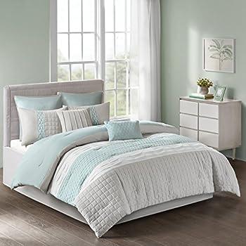510 DESIGN Tinsley 8 Piece Ultra Soft Quilted Comforter Set Bedding Queen Size Seafoam/Grey