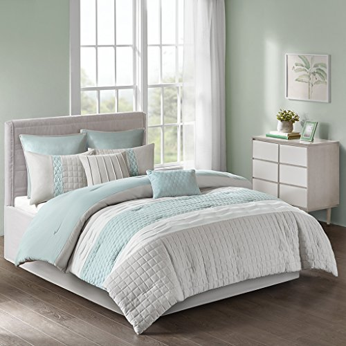 8pc Queen Arlie Comforter Set Seafoam/Gray