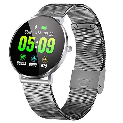CLII Smart-Uhren, Herzfrequenz Pedometer Fitness gesunden Schlaf-Tracker IP67 wasserdicht Sportuhr Musik Steuerinformationen Push-Sportuhren für Männer und Frauen,Silver Steel Belt