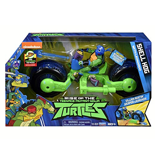 Giochi Preziosi Teenage Mutant Ninja, Turtles Rise Off, Moto con Personaggio, Shell Hog con Leo