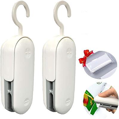 Mini sellador de bolsas, paquete de 2 selladores portátiles de plástico para máquinas de sellado, sellado de calor 2 en 1 y cortador de calor, sellado de alimentos de mano para bolsas de chips y bolsas de plástico, ayudante de almacenamiento de alimentos (gris)
