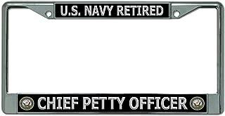 U.S. Navy Retired Chief Petty Officer Chrome License Plate Frame
