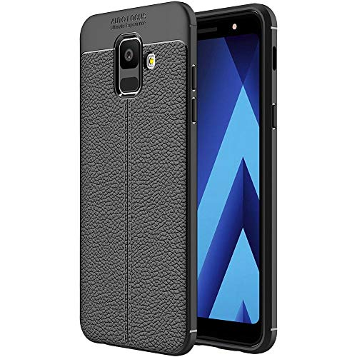 ebestStar - kompatibel mit Samsung Galaxy A6 2018 Hülle SM-A600F Lederhülle Design TPU Handyhülle Schutzhülle, Flex Silikon Hülle, Schwarz [Phone: 149.9 x 70.8 x 7.7mm, 5.6'']