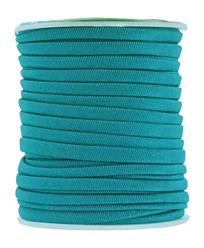 Mandala Crafts Soft Elastic Cord from Spandex Nylon Fabric for Jewelry Making, Sewing, and Crafting (Teal)