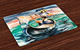 Lunarable Venice Place Mats Set of 4, Love in Venice Theme Couple with Singing Gondolier Italy Landmark Romantic Artwork, Washable Fabric Placemats for Dining Room Kitchen Table Decor, Multicolor