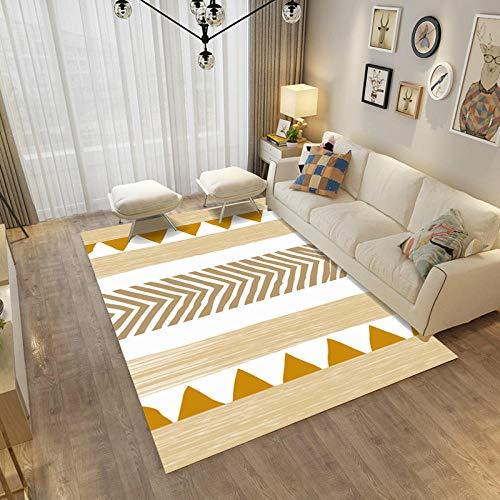 YQZS Moderner Design Kurzflor Teppich Loop Pile Carpet Cremegelbes Dreieck Pflegeleichter und schmutzabweisender maschinenwaschbarer Teppich,100X200cm(39X79inch)
