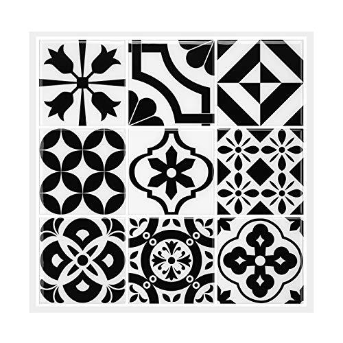 MORCART Adhesivo decorativo para azulejos, diseño de mosaico barroco, color negro, 12 unidades, 30,5 x 30,5 cm