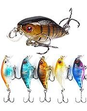 5 st Crankbait Fiske Lure, 4cm / 4.6g Flytande Erland Action Fiske Lures, 3D Eyes Fishing Gear Trout Lure med grunt vatten, sötvatten, saltvatten