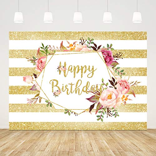 7x5ft Happy Birthday Backdrop Yellow and White Flower Photography Background for Adults 16th 30th 40th 50th 60th Birthday Party Decorations Girls Birthday Party Decorations Banner Photo Booth Props