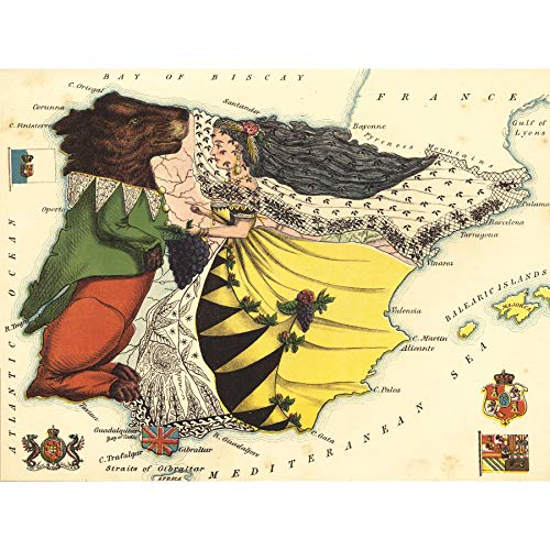 Lancaster 1869 Pictorial Map Spanje Portugal Beer Lady Ingelijste Muur Art Print