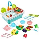 deAO 28 teiliges Küchen Spielset mit Abwaschfunktion und jeder Menge Zubehör