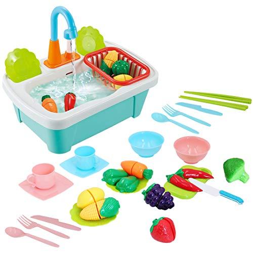 deAO 28pcs Juego de Fregadero de Cocina con Simulación de Lavar Incluye Juguetes para Cortar, Utensilios de Cocina, Grifo de Agua y Desagüe - Ideal para niños y niñas