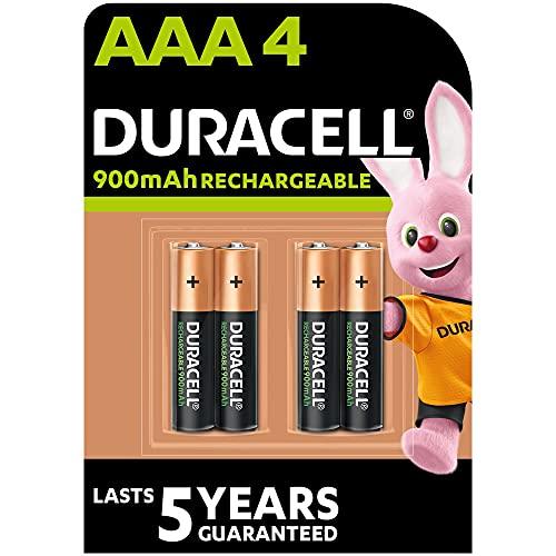 Duracell Pilas Recargables AAA 900 mAh, paquete de 4, Color Verde