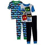 LEGO Ninjago Boys' Big Epic Battle 4Pc Pajama, 2Sets Sleeve, Long Pant, BLUBLK, 4