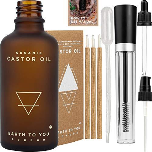 ÖKO-Rizinusöl kaltgepresst, frei von Hexan, GVO-frei, mit Mascara-Bürste -Röhre, Bambus-Eyeliner-Pinsel, Tropfpipette, Dosierpumpe, Pipette und einem ausführlichen Leitfaden zur Anwendung 50ml