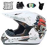 MRDEAR Casque Motocross Kit (5 Pcs) Rouge et Blanc, Casque Cross Off-Road Integral Casque de Route BMX Road Race Casque de Moto...