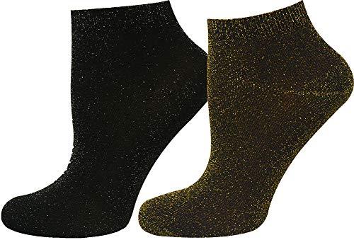 Mysocks 2 Paar Glitter Trainer Socken Silber und Gold