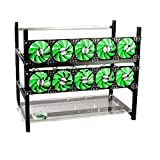 rxfsp open air aluminium mining frame rig case with 10 fans and 12 gpu support