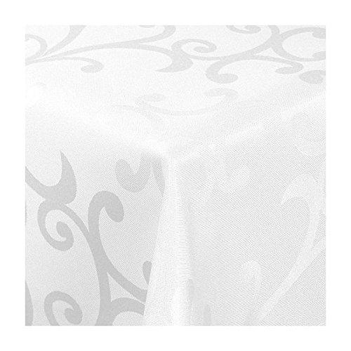TEXMAXX Damast Tischdecke Maßanfertigung im Milano-Design in weiß 130x220 cm eckig, weitere Längen und Farben wählbar