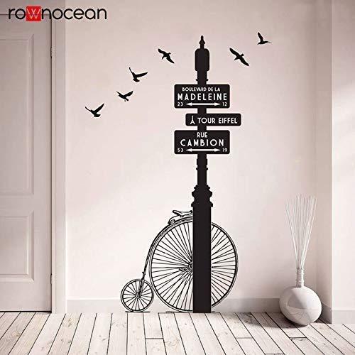 Bicicleta Retro Clásica En París Bajo El Cartel De La Calle Flying Bird Pegatinas De Pared Vinilo Decoración Del Hogar Sala De Estar Dormitorio Pegatinas De Pared 58X86 Cm
