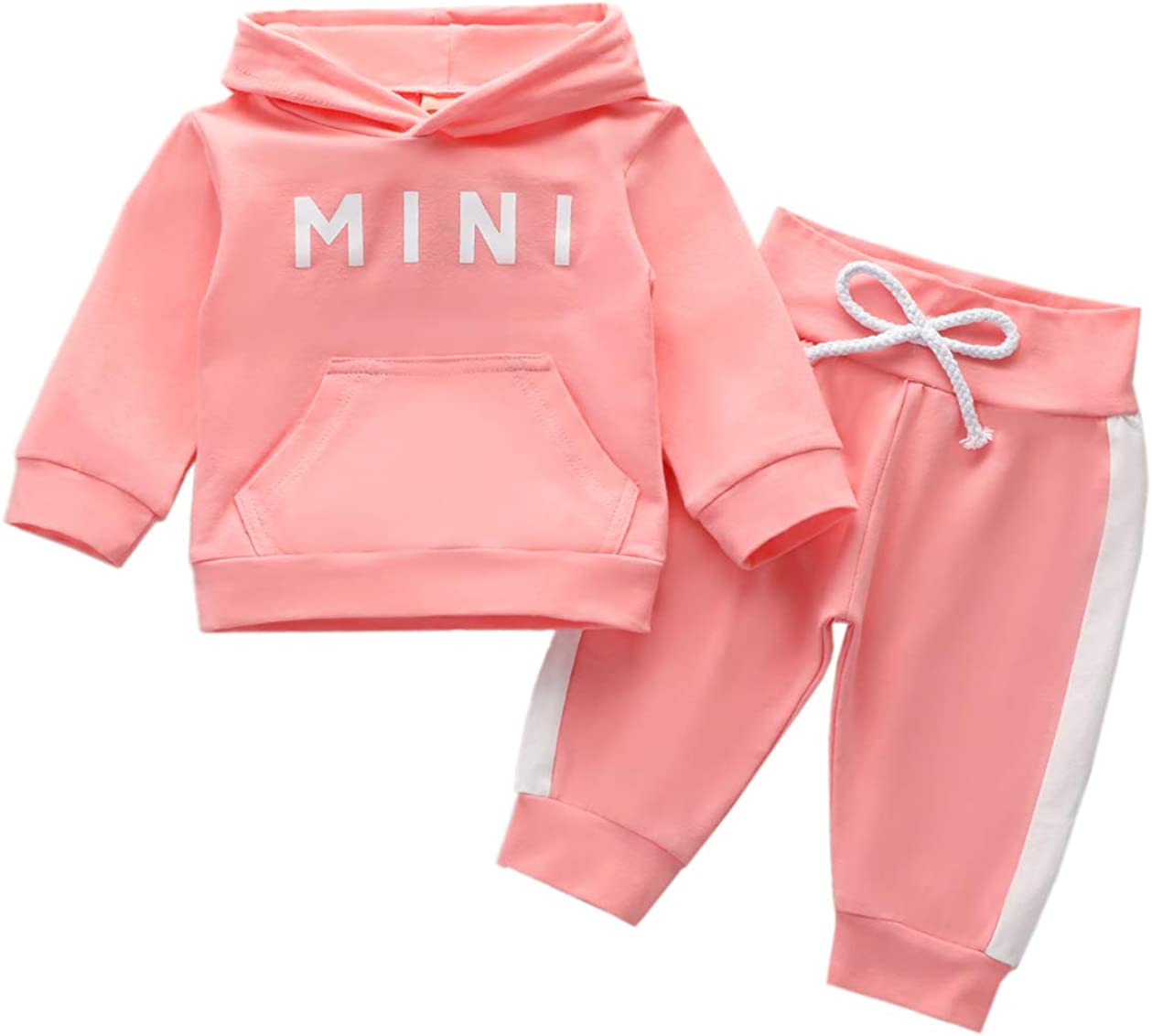 Newborn Baby Girl Fall Winter Clothes Floral Rose Hoodies Sweatshirts Mini Pullover Tops + Pants Outfits Toddler Girl Clothes