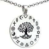 Coexist Tree of Life Yggdrasil World Religions Peace Pagan Silver Pewter Men's Pendant Necklace Lucky Charm Prosperity Protection Amulet Safe Travel Talisman Growth Medallion w Stainless Steel Chain