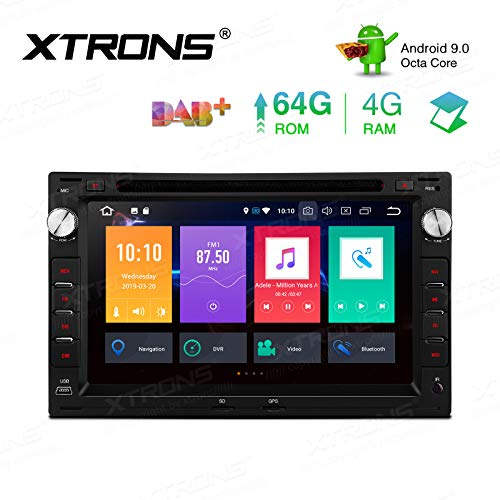 XTRONS - Unidad de Cabeza para Android 9.0 4G+64G Octa Core Car Estéreo 7 Pulgadas Pantalla táctil Auto Player Soporte Auto Play BT5.0 WiFi MirrorLink Dab+ para VW Passat B5 Jetta MK3