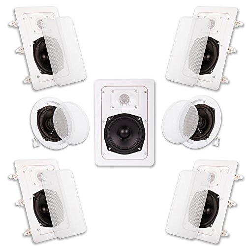 Acoustic Audio HT-57 In Wall In Ceiling 1400 Watt Home Theater 7 Speaker System