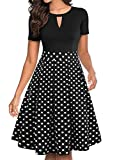 YATHON Women's Vintage Fit and Flare Cocktail Dresses Retro Black White Polka Dot Print Summer Aline Casual Work Swing Dress with Pockets (L, YT018-Black Dot)