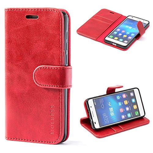 Mulbess Cover per Honor 6, Custodia Pelle con Magnetica per Huawei Honor 6 [Vinatge Case], Vino Rosso